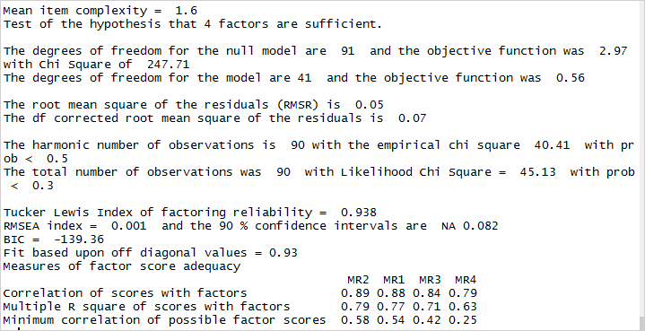 Factor Analysis Model Adequacy